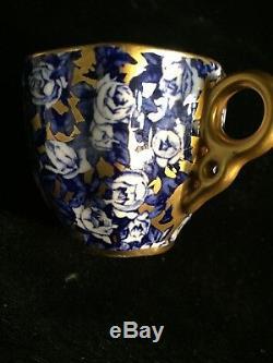 Beautiful Anique Coalport Demi Blue Gold Roses Demitasse Cup Saucer