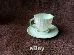 Belleek Green Limpet Footed Demitasse Cup & Second Black Mark Saucer c. 1891-1926