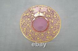 Bohemian Moser Type Enameled Gold Scrollwork Cranberry Demitasse Cup & Saucer E