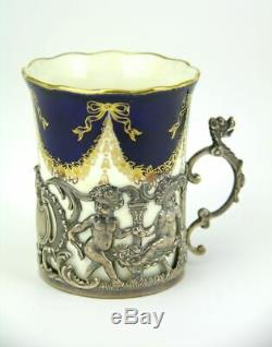 Boxed set 6 Coalport Coffee Cup Can Sterling teaglass demitasse holder Edwardian