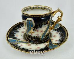 C347 Antique Haviland Limoges Demitasse Cup & Saucer, Sevres Style