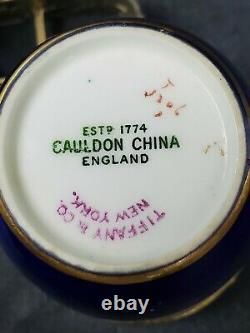 CAULDON tea cup and saucer Blue & gold demitasse teacup England TIFFANY &CO NY