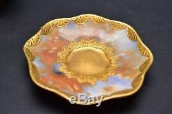 COALPORT Antique DEMITASSE Painted Cup Saucer GOLD EMBOSSED