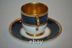 COALPORT England DEMITASSE CUP & SAUCER Cobalt Blue & Gold