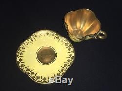 COALPORT HARLEQUIN DEMITASSE CABINET QUATREFOIL CUP & SAUCER. JEWELLED C1881 (x4)