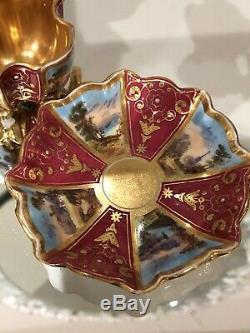 COALPORT QUATREFOIL Burgandy HANDPAINTED GOLD MINIATURE Demitasse CUP SAUCER