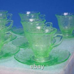 Cambridge Glass Emerald Green Apple Blossom 8 Demitasse Cups and Saucers