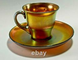 Carder Steuben Gold Aurene Demitasse Cup & Saucer Shape No. 2780