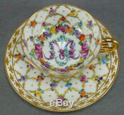 Carl Thieme HP Maria Theresa Monogram Floral & Gold Demitasse Cup & Saucer B