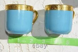Charles Ahrenfeldt Limoges Demitasse 9 Cups 10 Saucers EXCELLENT Robin Egg Blue