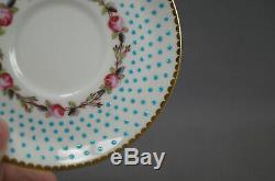 Charles Ford Pink Rose & Turquoise Beaded Demitasse Cup & Saucer C. 1900-1904 A