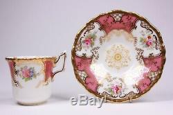 Coalport Batwing Cup and Saucer Pink Demitasse 2665 Circa 1910