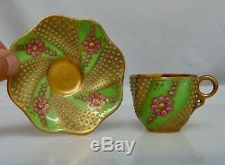 Coalport Jeweled Gold Demitasse Coffee Cup & Saucer 80812