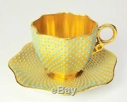 Coalport Porcelain Jeweled Turquoise on Gold Demitasse Cup & Saucer INCREDIBLE