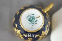 Coalport T253 Cobalt Blue & Raised Beaded Gold Demitasse Cup & Saucer