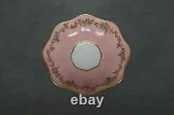 Coalport Turquoise Enamel & Golf Floral Pink Demitasse Cup & Saucer C. 1891-1920