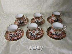 Copeland Spode Imari Set of Six Demitasse Cups and Saucers
