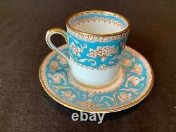Crown Staffordshire Ellesmere Turquoise Blue Demitasse 3 Cup & 5 Saucer