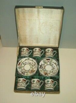 Crown staffordshire hunting scene boxed set of 6 demitasse cups and saucers