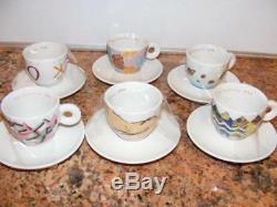 Demitasse Set 6 ILLY 1992 Art Mystery Espresso Cup & Saucer R Ginori Mug Cafe