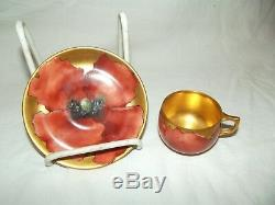 Demitasse Tea Cup & Saucer A. K France Limoges hand painted signed poppy red gold