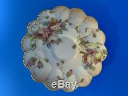 Doulton Burslem Demitasse ca. 1891 Hand Painted Floral Tea Cup and Saucer Set