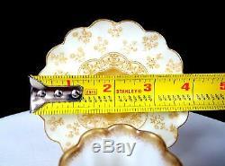 Doulton Burslem Porcelain Tall Scalloped 2 3/8 Demitasse Cup & Saucer 1891-1902