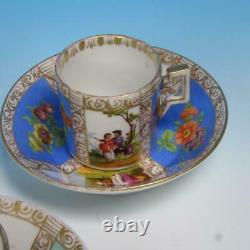 Dresden China Quatrefoil Watteau Courting Scenes 3 Demitasse Cups & Saucers