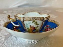 Dresden Courting Scenes Quatrefoil Demitasse Cup & Saucer / Germany 19th Century