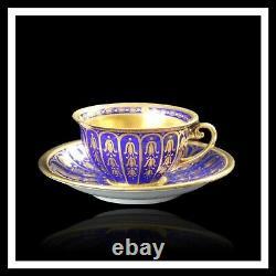 Dresden Demitasse Cup & Saucer Gold Encrusted Over Cobalt