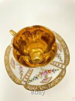 Dresden Franziska Hirsch Demitasse Cup and Saucer Hand Painted1896-1930 Gold