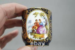 Dresden Hand Painted Courting Couple Cobalt & Gold Demitasse Cup & Saucer