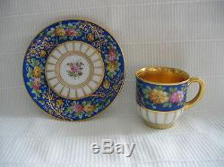 Dresden Lamm Cobalt & Gold Demitasse Cabinet Cup & Saucer Vg Excellent 1891-1914