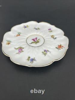 Dresden Meissen White Floral Scalloped Crossed Sword S Demitasse Cup Saucer