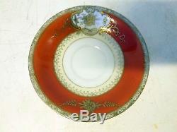 Early Art Deco Pirkenhammer Czech Demitasse Cup Saucer Orange Raised Gold