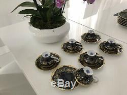 Echt Weimar Kobalt Porzellan Katharina (6) Demitasse Set Cups & Saucers