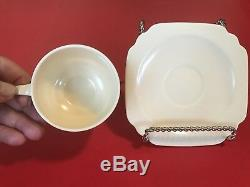 Extremely Rare Ivory Demitasse Cup & Saucer Riviera Century Homer Laughlin MINT