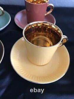 FIGGJO FLINT NORWAY- DEMITASSE/ ESPRESSO CUPS & SAUCERS 24K Gold 1950s VINTAGE