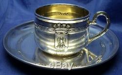 FRENCH STERLING SILVER DEMITASSE CUP AND SAUCER BY LOUIS COIGNET PARIS c. 1890