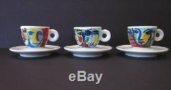 Faces ILLY Collection 1994 Espresso Demitasse Cups Saucers SET of 6 Sandro Chia