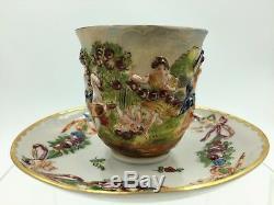 Fine 18th-19th Century Italian Capodimonte Porcelain Demitasse Cup & Saucer