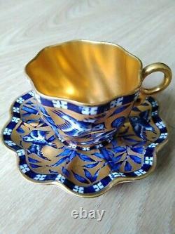 Fine Antique Coalport Blue & Gold Demitasse Cup & Saucer c1900