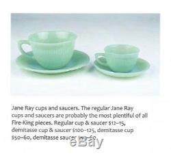 Fire King Jadite / Jadeite / Jade-ite Jane Ray Demitasse Cup And Saucer Set (1)