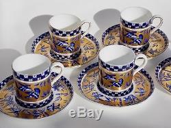Five Coalport Bamboo Bird Garden Demitasse Cups And Saucers Cobalt Blue And Gold
