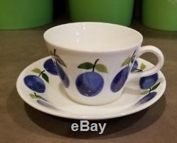 Flat Demitasse Cup & Saucer Set Prunus Stigl Gustavsberg Sweden ORIGINAL VINTAGE