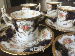 Flat Demitasse Cup & Saucer Set of 6 c. 1891 Panel Cobalt by COALPORT