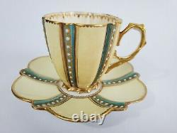 Gorgeous Antique Aynsley/s Bone China Demitasse Tea Cup and Saucer 1883