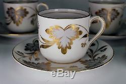 Grosvenor England Rosslyn Antique China 6 Demitasse Cups 6 Demitasse Saucers