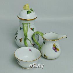 HEREND ROTHSCHILD BIRDS DEMITASSE/Mocha Pot 1613 set of 4 cup/saucer creamer & S