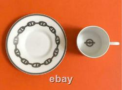 HERMES Cup Saucer Chain D'Ancre Platinum Demitasse Cup Plate from Japan